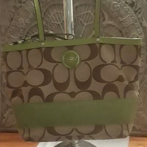 Coach purse green and brown